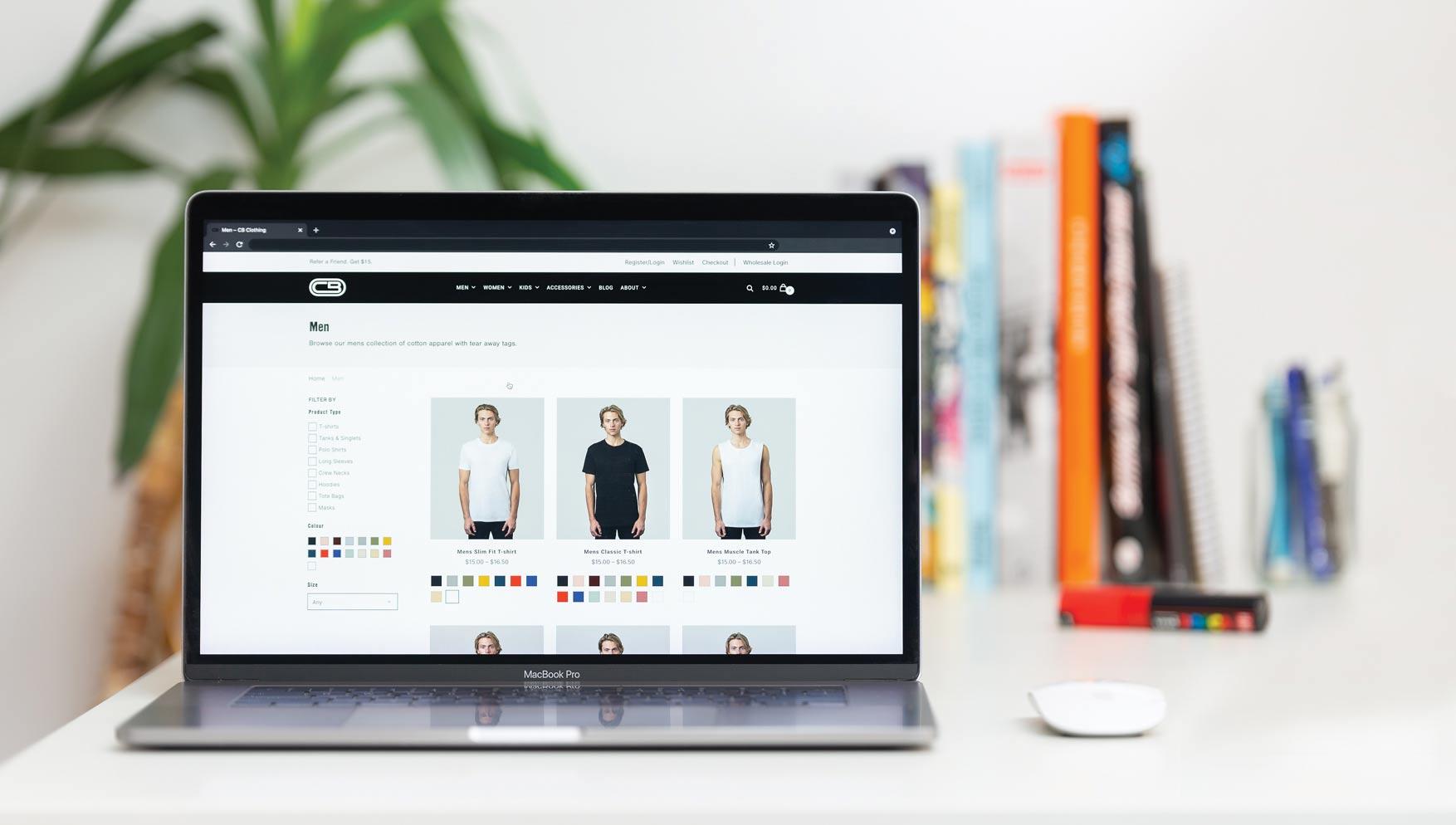 CB clothing blog website on laptop